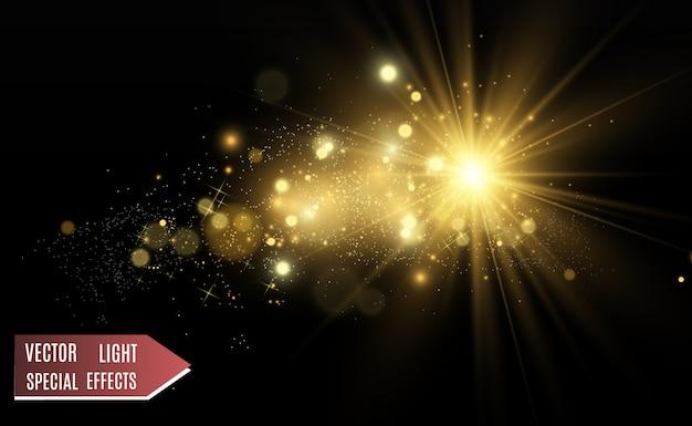 Hermosa ilustración vectorial de oro de una estrella sobre un fondo translúcido con polvo de oro y brillos.