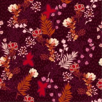 Hermosa ilustración vectorial de un prado dibujado a mano flores y hojas