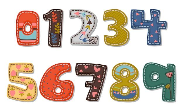Hermosa impresión en números de fuente en negrita para niños