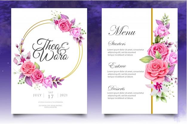 Hermosa invitación de boda en acuarela floral y plantilla de tarjeta de hojas