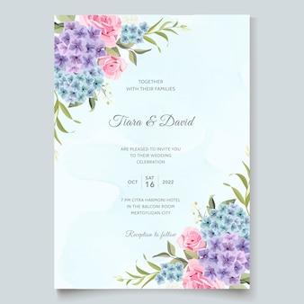 Hermosa invitación de boda flor de jardín