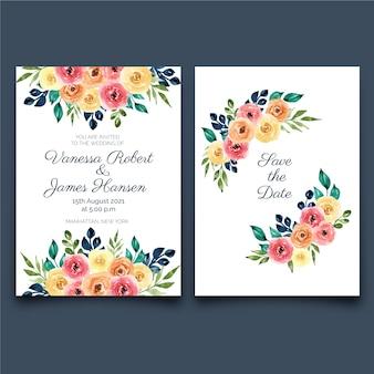 Hermosa invitación de boda floral en acuarela