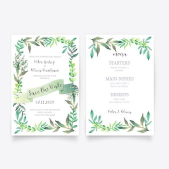 Hermosa invitación de boda floral con plantilla de menú