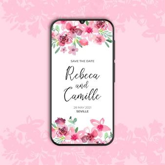 Hermosa invitación de boda floral para smarthphone
