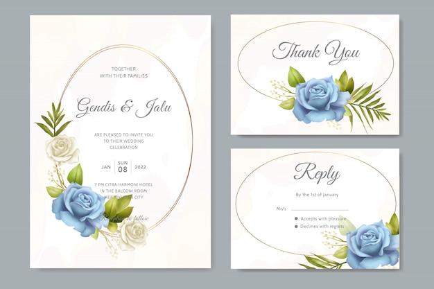 Hermosa invitación de boda con flores azules