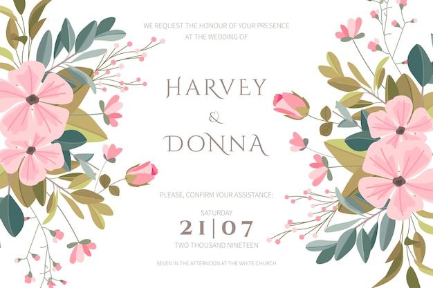 Hermosa invitación de boda con flores dibujadas a mano