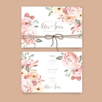 Hermosa invitación de boda con flores vintage
