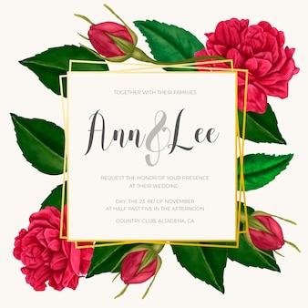 Hermosa invitación de boda con flores