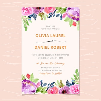 Hermosa invitación de boda con fondo floral acuarela