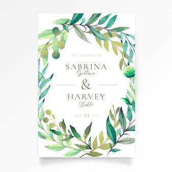 Hermosa invitación de boda con hojas de acuarela