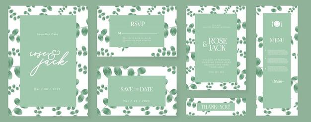 Hermosa invitación de boda con hojas de eucalipto