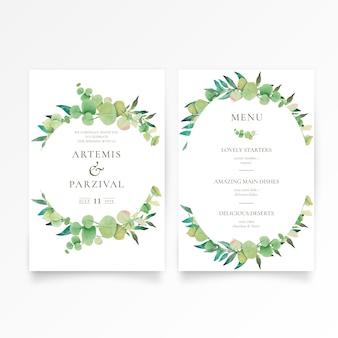 Hermosa invitación de boda y plantilla de menú con adornos florales