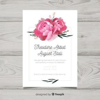 Hermosa invitación de boda con flores peonía