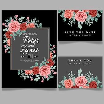 Hermosa invitación de flor rosa floral diseño de plantilla editable con tarjeta de tanques