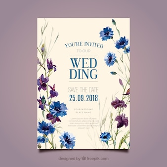 Hermosa invitación floral de boda en estilo de acuarela