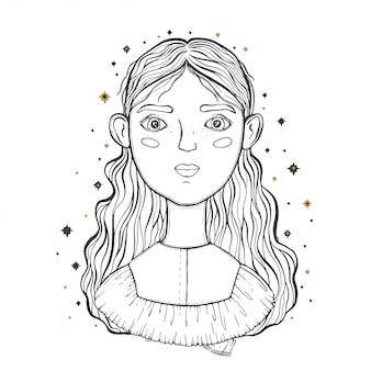 Hermosa joven adolescente, primer plano de la cara. boceto para tatuaje, estampado aislado en camiseta.