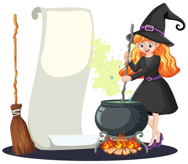 Hermosa joven con bote mágico negro y palo de escoba y estilo de dibujos animados de papel de banner en blanco aislado sobre fondo blanco