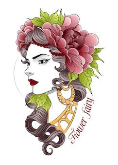 Hermosa joven en una corona de flores