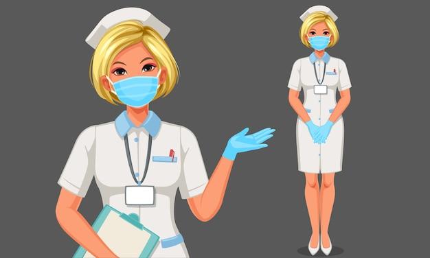 Hermosa joven enfermera con máscara y guantes ilustración