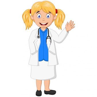 Hermosa joven médico con estetoscopio agitando la mano