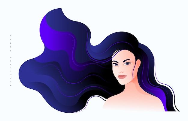 Hermosa joven medio rostro vuelto con largo cabello azul oscuro