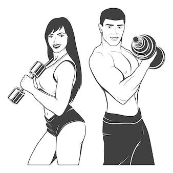Hermosa joven pareja deportiva fitness con pesas. monocromo