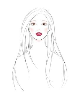 Hermosa joven con pelo largo