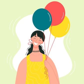 Hermosa joven sonriente sosteniendo globos en la mano. el concepto de vacaciones, cumpleaños, felicitaciones. personaje en estilo plano