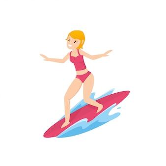 Hermosa joven con tabla de surf en el mar