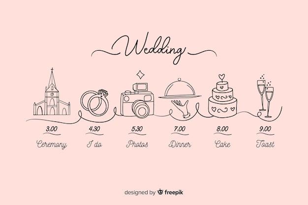 Hermosa línea de tiempo de boda dibujada a mano