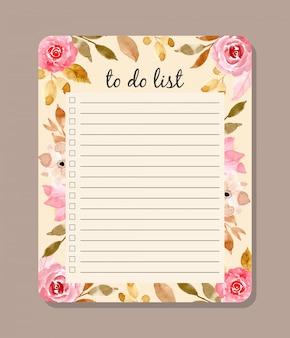 Hermosa lista de hacer con acuarela floral