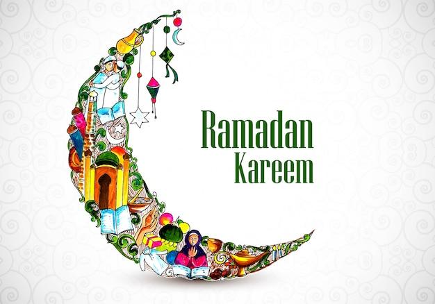 Hermosa luna decorativa ramadan kareem fondo