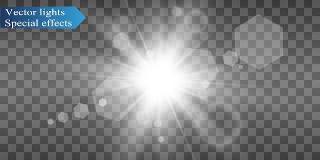La hermosa luz blanca explota con una explosión transparente. ilustración brillante para un efecto perfecto con destellos. lucero. brillo transparente del degradado de brillo, destello brillante