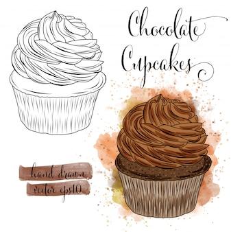 Hermosa mano dibujada cupcakes de acuarela con chocolate