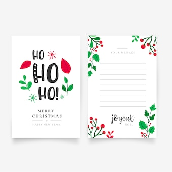 Hermosa mano dibujada plantilla de carta de navidad