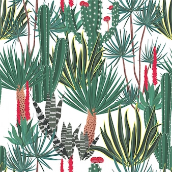 Hermosa mano dibujado cactus floreciente, cactus, patrón de suculentas
