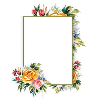 Hermosa mano dibujar plantilla de tarjeta de boda floral