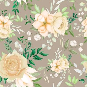 Hermosa mano dibujo floral de patrones sin fisuras