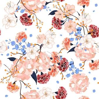 Hermosa mano dibujo de patrones sin fisuras blooming florales