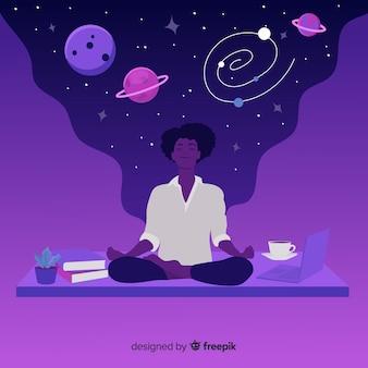 Hermosa medicación con concepto de estrellas y planetas