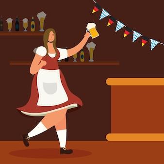 Hermosa mujer alemana bebiendo cerveza en el bar, diseño de ilustraciones vectoriales de caracteres