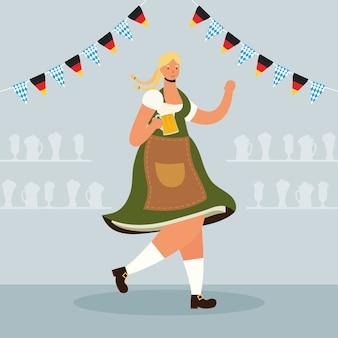 Hermosa mujer alemana bebiendo cerveza y guirnaldas de caracteres, diseño de ilustraciones vectoriales