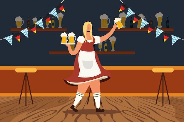 Hermosa mujer alemana bebiendo cervezas en el bar, diseño de ilustraciones vectoriales de caracteres