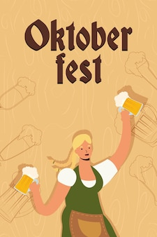 Hermosa mujer alemana bebiendo cervezas ilustración vectorial character design