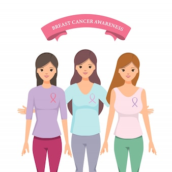 Hermosa mujer con cinta rosa para ayudar a promover la conciencia del cáncer de mama.