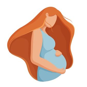 Hermosa mujer embarazada feliz día de la madre.