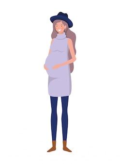 Hermosa mujer embarazada de pie en blanco