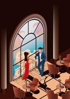 Hermosa mujer y hombre en restaurante cerca de la ventana