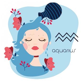 Hermosa mujer con ilustración de signo del zodiaco acuario