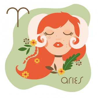 Hermosa mujer con ilustración de signo del zodiaco aries